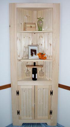 Wood Corner Cabinet Shelf curio bookcase by OldYankeeWorkshop