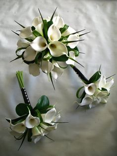 Silk wedding set with Calla lillies and greenery. 6 peices in this set. on Etsy, $199.26 AUD