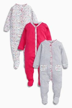 Buy Pink Floral Sleepsuits Three Pack (0mths-2yrs) online today at Next  ec993f7edef5