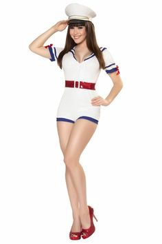 Pin-up 8-10 Ahoy Leg Avenue Navy Retro High Seas Humor Sultry Sailor Costume