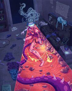 Reality Virtuoso by Kim Herbst : Cyberpunk Sci Fi Kunst, Cyberpunk Kunst, Art And Illustration, Design Illustrations, Fantasy Kunst, Fantasy Art, Ps Wallpaper, Psychedelic Art, Sci Fi Art