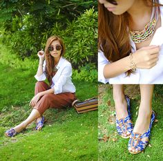 white shirt, statement shoes & necklace