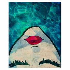 Hand-stretched canvas print with an aquatic motif and graphic portrait overlay. Made in the USA.   Product: Wall artConstruction Material: Gallery-wrapped canvas and woodFeatures: Ready to hang Cleaning and Care: Dust lightly