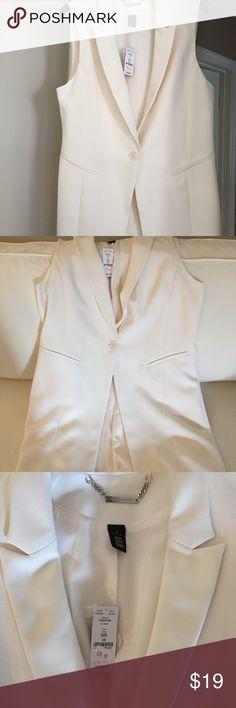 Long vest / jacket Never worn! Long cream color vest. Slit in back (still sewn). White House Black Market Jackets & Coats Vests