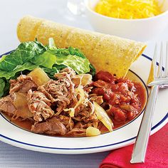 """Pork Carnitas by All You. You'll find this recipe for carnitas, or """"little meats,"""" easy on your budget. It calls for pork butt, which is an inexpensive cut of meat, and easily serves half a dozen diners."""