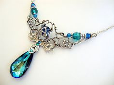 Peacock Bermuda Blue Victorian style antique silver filigree Swarovski crystal teardrop necklace