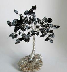 Stromeček z obsidiánu obláčkového minerály stromeček měsíční kámen strom života stromeček štěstí drátky a minerál