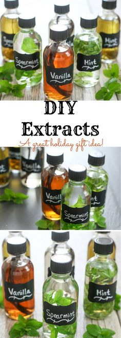 DIY Vanilla, Mint and Spearmint Extracts. A great holiday gift idea!