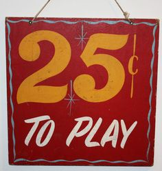 Vintage Carnival Game 2 Sided Sign 25¢ to Play U Win Choice | eBay