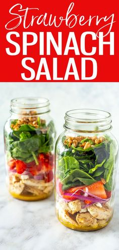 This Strawberry Spinach Salad with chicken and goat cheese is a deliciously protein-packed meal with a 4-ingredient dressing! #strawberrygoatcheese #spinachsalad Honey Mustard Vinaigrette, Red Wine Vinaigrette, Spinach Salad With Chicken, Chicken Salad, Lunch Recipes, Salad Recipes, Sweets Recipes, Delicious Recipes, Spinach Strawberry Salad