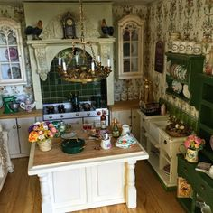 Miniature French Country kitchen. Roosters. Kitchen island. Glass front cabinets.