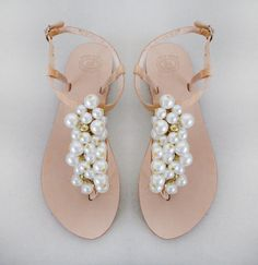 Wedding+shoes++Handmade+Sandals+decorated+with+pearl+by+MyMarmade