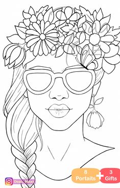 Adult coloring book 8 gray scale portraits coloring pages pdf printable anti-stress relaxing zentangle line art - Her Crochet People Coloring Pages, Cute Coloring Pages, Coloring Books, Coloring Sheets, Pencil Art Drawings, Drawing Sketches, Face Sketch, Zentangle, Free Adult Coloring