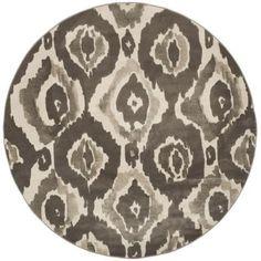 Safavieh Porcello Ivory/Dark Grey 7 ft. x 7 ft. Round Area Rug, Ivory/Dark Gray