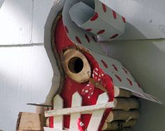bird house, Birdhouse in color options with dragon fly, chimney, wire fret work… Bird Houses Painted, Bird Houses Diy, Fairy Houses, Bird House Plans, Bird House Kits, Bird Aviary, Rustic Chair, Bird Boxes, Lawn And Garden