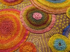 "♒ Enchanting Embroidery ♒ embroidered circles - Close up of Marty Jones work ""Encircle"" Embroidery Applique, Cross Stitch Embroidery, Embroidery Patterns, Thread Art, Thread Painting, Textiles, Fabric Art, Textile Art, Needlework"
