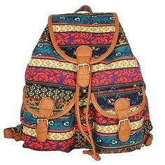 4ef4d5b80910fe Boho Style Canvas Backpack. FleursHirondelleCouleurVoyageSac À Dos ...