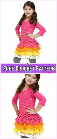 Crochet Girl Ruffle Dress Free Patterns-Crochet Easy Caron Rows o' Ruffles Dress Free Pattern