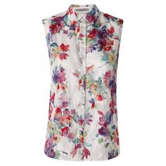 BIZZ Floral Print Sleeveless Blouse (290 PEN) ❤ liked on Polyvore featuring tops, blouses, shirts, sleeveless shirts, flower pattern shirt, floral print tops, no sleeve shirt and floral tops