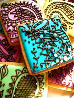 Royal iced lemon cookies with mehndi inspired designs.