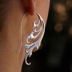 Big earrings, Statement earrings, silver tribal earrings, Silver Swirling Earrings - Solid Sterling Silver Jewelry - Breathless