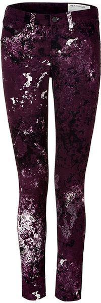 Rag & Bone Purple Purple Splash Painted Skinny Pant