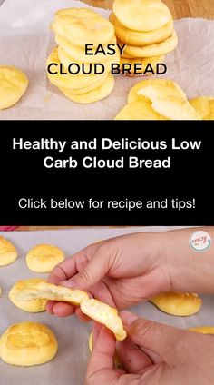 This Low Carb Cloud Bread with Greek Yogurt is a cleaner version of the traditional cloud bread recipe (that is usually made with cream cheese). Cooking tips included. Low Carb Cloud Bread Recipe, Lowest Carb Bread Recipe, Greek Yogurt Bread, Greek Yogurt Recipes, No Bread Diet, Best Keto Bread, Healthy Low Carb Recipes, Healthy Recipe Videos, Keto Recipes