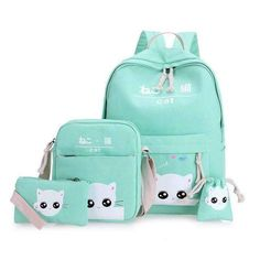 Vz Black Cat Backpacks For Girl Lovely School Backpacks For Teenage Girls Printing Backpack Set Mint Green School Bags Wm111Yl