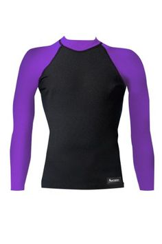 87d23bee79 Aeroskin Nylon Long Sleeve Rash Guard with Color Accent BlackPurple XLarge  ** Check this awesome