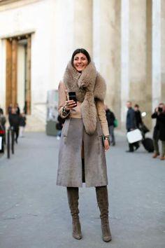 Giovanna Battaglia. fur collar fabulousness accessorized with a smile