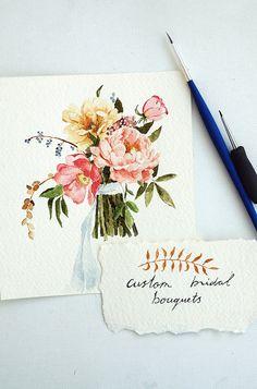 Custom Bridal Bouquet Painting by SundukShop Wedding Watercolor Flowers