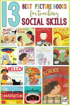 13 best picture books for teaching social skills. Behavior basics book club for students with special needs. Book list for elementary classrooms Teaching Social Skills, Social Emotional Learning, Book Club List, Book Lists, Emotional Books, Emotional Pictures, Character Education, Art Education, Physical Education