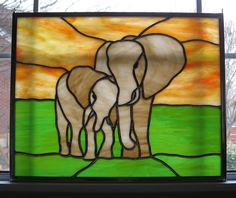 Elephants Stained Glass Panel, custom made by www.etsy.com/shop/stainedglassyourway