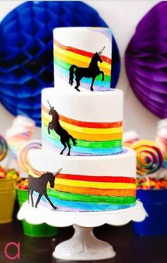 """Rainbows and unicorns cake  @Christy Starling  How about something like this for Georgia?  She wants a """"7"""" on top.  Can you do rainbow cake inside or chocolate?"""