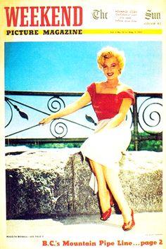 1952 August issue: Weekend Picture Magazine (Canadian) magazine cover of Marilyn Monroe .... #marilynmonroe #normajeane #vintagemagazine #pinup #iconic #raremagazine #magazinecover #hollywoodactress #1950s