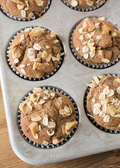 Healthy Banana Oatmeal Muffins in Tin Ovehead