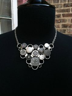 Vintage Button Bib Necklace by JaneSteeleMason on Etsy, $120.00