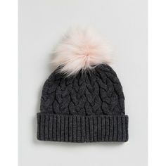 0a118fe9b1228 ASOS Cable Pom Beanie With Pink Faux Fur Pom ( 19) ❤ liked on Polyvore