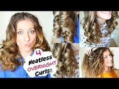 No Heat Curls Overnight Heatless Curl Hair Curlers Overnight, Diy Hair Curlers, No Heat Curls Overnight, Heatless Curls Overnight, Overnight Hairstyles, Curls No Heat, Wavy Hairstyles Tutorial, No Heat Hairstyles, Curled Hairstyles