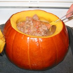 Taste of Home. Excellent for fall celebrations. I usually add bay leaf and dried thyme or marjoram to the stew. You can add whatever spices/herbs you prefer. Pumpkin Stew, Baked Pumpkin, A Pumpkin, Pumpkin Recipes, Pumpkin Carving, Beef Curry Stew, Beef Stew Meat, Mushroom Stew, Southern Recipes