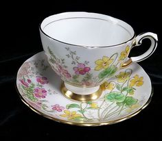 Vintage Tuscan Fine English Bone China Cup & Saucer - Alpine Flowers 1940's-50s #Tuscan