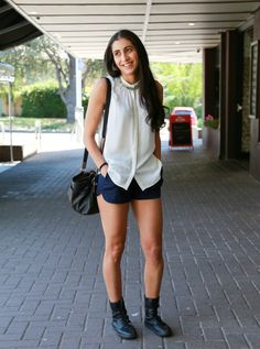 Street Stylin' Braddon: Soph mixes a delicate top by Limited Editions with edgy boots by Dr Martens