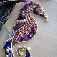 Seahorse master class by #inga.marita almost done  #luneville #embroidery…