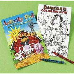 """Farm Animal Activity Pads with Crayons (1 dz) by Fun Express. $11.99. Each set includes 1 activity pad & 2 assorted crayons. 12 sets per order. Activity pads contain 7 pages of activities. Non-toxic.. Farm Animals Activity Pads With Crayons. Each set includes a 7 page activity pad and 2 assorted 3"""" crayons."""