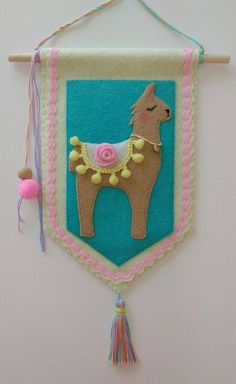 Flag felt llama banner, wall hanging, door sign, nursery decoration, wall decoration, handmade, felt banner, llama love, gifts, baby gifts, girl, flag, banner, felt. Hey, I found this really awesome Etsy listing at https://www.etsy.com/listing/549263357/sunkissed-drama-llama