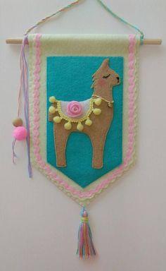 Flag felt llama banner, wall hanging, door sign, nursery decoration, wall decoration, handmade, felt banner, llama love, gifts, baby gifts, girl, flag, banner, felt.  Hey, I found this really awesome Etsy listing at https://www.etsy.com/listing/549263357/sunkissed-drama-llama