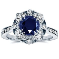 Shop a great selection of Kobelli Antique Floral Sapphire Diamond Engagement Ring 1 Carat (ctw) White Gold. Find new offer and Similar products for Kobelli Antique Floral Sapphire Diamond Engagement Ring 1 Carat (ctw) White Gold. White Gold Sapphire Ring, Sapphire Diamond Engagement, Floral Engagement Ring, Round Cut Engagement Rings, Sapphire Jewelry, Antique Engagement Rings, White Gold Rings, White Gold Diamonds, Blue Sapphire