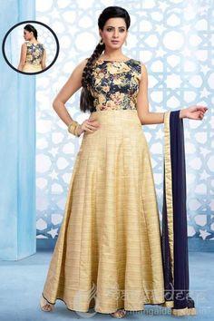 http://www.mangaldeep.co.in/salwar-kameez/ready-made-salwar-kameez/opulent-cream-readymade-banarasi-silk-designer-anarkali-suit-7041 For more details contact us : +919377222211 (whatsapp available)
