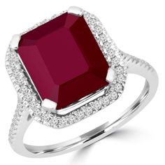 Bijoux Majesty - Emerald Cut Treated Red Ruby Gemstone 4-Prong Halo Cocktail Ring with Round White Diamond Accents in White Gold -
