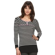 Women's Elle™ Contrast-Stripe Crewneck Sweater, Size: XS, Black